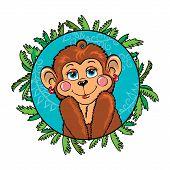 stock photo of chimp  - Funny shy female monkey with rosy cheeks wearing earrings - JPG
