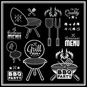 pic of barbecue grill  - Barbecue grill vector illustration on black background - JPG