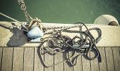 foto of coil  - coiled rope on boat - JPG