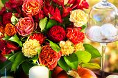 image of dowry  - Red and pink roses for decoration festive table - JPG