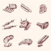 foto of meat icon  - Meat food decorative icons set of cow ham fillet sketch isolated vector illustration - JPG