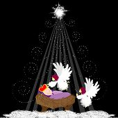 foto of christmas angel  - Christmas background with baby Jesus and angel - JPG