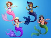 image of mermaid  - Cute mermaid underwater with beautiful tale and hair accessories - JPG
