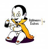 stock photo of dracula  - Cute baby vampire Dracula young - JPG