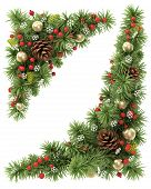 pic of holly  - Christmas corners set from the decorated fir tree branches - JPG