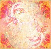 stock photo of koi tattoo  - Japanese koi fish grunge abstract background  - JPG