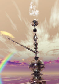foto of shisha  - Digital 3D Illustration of a Shisha with Smoke - JPG