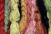 stock photo of silk worm  - Colorful of Raw silk thread for background - JPG