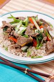 stock photo of stir fry  - orange and ginger beef stir fry over brown rice - JPG