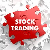 foto of debenture  - Stock Trading on Green Puzzle on White Background - JPG