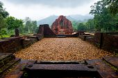 pic of champa  - MySon temple in perspective cloudy weather Vietnam - JPG