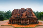 picture of champa  - My Son temple red bricks in cloudy weather Vietnam - JPG