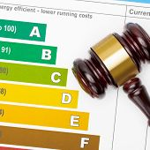 picture of fuel efficiency  - Wooden judge gavel over colorful efficiency chart  - JPG