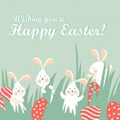 foto of hare  - Easter bunnies and easter eggs - JPG