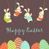 stock photo of hare  - Easter bunnies and easter eggs - JPG