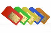 picture of micro-sim  - Group of color SIM cards isolated on white background - JPG