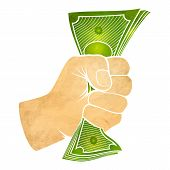 picture of fist  - Vector illustration of a fist with money - JPG