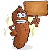 stock photo of poo  - A smelly log of poop with a big smile holding a blank wooden sign - JPG