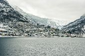picture of fjord  - wooden houses on the banks of the Norwegian fjord - JPG
