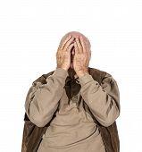 foto of sorrow  - portrait of elderly retired man in sorrow - JPG