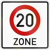 image of traffic rules  - German traffic sign indicating a zone with reduced traffic and a speed limit of 20 kilometers per hour - JPG