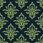 picture of dainty  - Damask style seamless pattern of abstract orchid flowers with dainty petals in shades of green suitable for fabric or background design - JPG