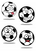 stock photo of googly-eyes  - Football or soccer balls cartoon characters with googly eyes and smiling faces suitable for sporting mascot or logo design - JPG