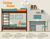 foto of bunk-bed  - Living room modern interior design infographic in flat style including bunk bed with stairs - JPG