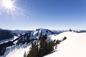 "foto of bavaria  - ""Wallberg"" mountain with sun in winter, Bavaria, Germany - JPG"