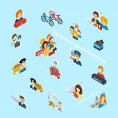 picture of passenger ship  - Passenger transportation isometric icons set with 3d transport symbols vector illustration - JPG