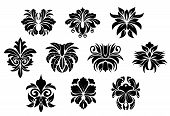 stock photo of tendril  - Black vintage floral elements with abstract bold flowers ornate decorated twirls - JPG