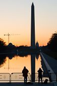 picture of washington monument  - Washington D.C. - Sunrise at Lincoln Memorial with silhouettes of Capitol Building and Washington Monument  - JPG
