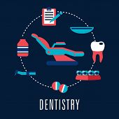 image of medical  - Flat dentistry concept with dental chair surrounded medical icons depicting pills - JPG