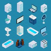 picture of household  - Isometric household appliances set with washing machine refrigerator computer 3d icons isolated vector illustration - JPG