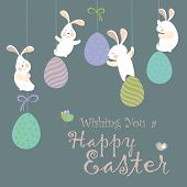 stock photo of grass bird  - Easter bunnies and easter eggs - JPG