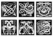 foto of celtic  - Celtic styled abstract animals and birds decorated ornament in traditional ethnic irish style on black background for tattoo or totem design - JPG