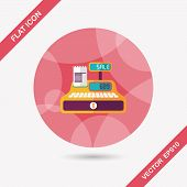 picture of cash register  - Shopping Cash Register Flat Icon With Long Shadow - JPG
