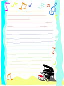 image of rainbow piano  - letter paper with music note and piano - JPG