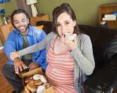 pic of snatch  - Greedy pregnant woman with hungry partner on sofa - JPG