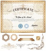 foto of currency  - Vector illustration of gold detailed certificate with watermarks - JPG