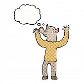 foto of werewolf  - cartoon happy werewolf man with thought bubble - JPG