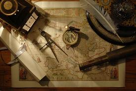 pic of treasure map  - nautical navigation tools on old map - JPG
