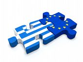 image of european  - Puzzle pieces connect a piece containing the Greece flag and the European Union flag - JPG