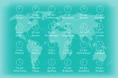 foto of geography  - World map with time zones infographics background - JPG