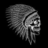 image of indian chief  - Vector skull of indian chief in hand drawing style - JPG