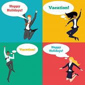 stock photo of feelings emotions  - Set of people jumping in the air with happy emotion and speech bubbles - JPG