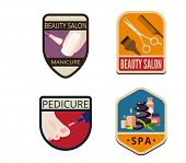 picture of pedicure  - Beauty Salon SPA Vintage Labels vector icon design collection - JPG