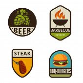 pic of burger  - BBQ Grill Vintage Labels vector icon design collection - JPG