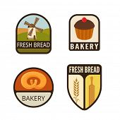 picture of flat-bread  - Bakery Vintage Labels vector icon design collection - JPG