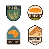 foto of flat-bread  - Bakery Vintage Labels vector icon design collection - JPG